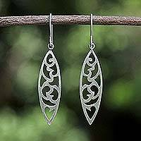 Sterling silver dangle earrings, 'Bold Nature' - Unique Modern Sterling Silver Dangle Earrings