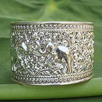 Sterling silver cuff bracelet, 'Elephant Greeting' (Thailand)