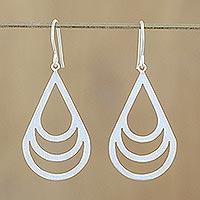 Sterling silver dangle earrings, 'Evening Dew'