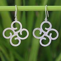 Sterling silver dangle earrings, 'Abstract Clover'
