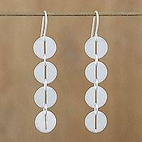 Sterling silver dangle earrings, 'Bold Symmetry' - Modern Sterling Silver Dangle Earrings