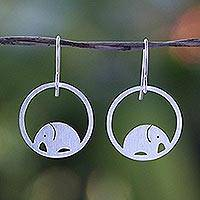 Sterling silver dangle earrings, 'Elephant Horizon'
