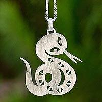 Sterling silver pendant necklace, 'Chinese Zodiac Snake'