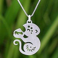 Sterling silver pendant necklace, 'Chinese Zodiac Monkey'