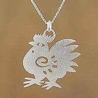 Sterling silver pendant necklace, 'Chinese Zodiac Rooster'