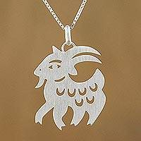 Sterling silver pendant necklace, 'Chinese Zodiac Goat'