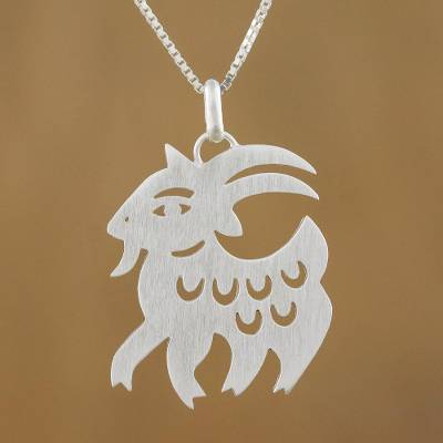 Sterling silver pendant necklace, Chinese Zodiac Goat