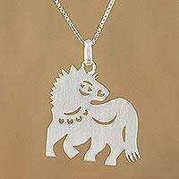 Sterling silver pendant necklace, 'Chinese Zodiac Horse'