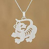Sterling silver pendant necklace, 'Chinese Zodiac Tiger'