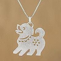 Sterling silver pendant necklace, 'Chinese Zodiac Dog'