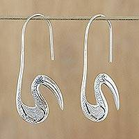 Sterling silver drop earrings, 'Gentle Stork' - Sterling silver drop earrings