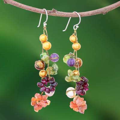 Pearl and amethyst drop earrings, Tropical Symphony