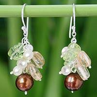 Pearl and peridot dangle earrings,