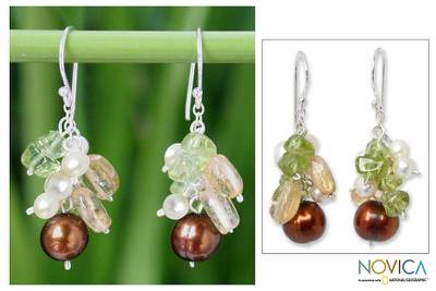 Pearl and peridot dangle earrings, 'Shimmering Cinnamon' - Hand Crafted Pearl Dangle Earrings
