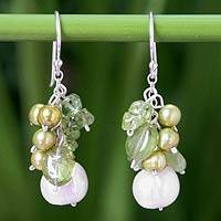 Pearl and peridot dangle earrings, 'Shimmering Lime' - Fair Trade Beaded Pearl Earrings