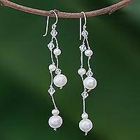 Pearl dangle earrings, 'White Iridescence' - Bridal Pearl Waterfall Earrings from Thailand