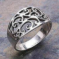 Sterling silver band ring, 'Arabesque' - Unique Sterling Silver Band Ring from Thailand