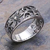 Sterling silver flower ring, 'Petite Blossom' - Unique Floral Sterling Silver Band Ring