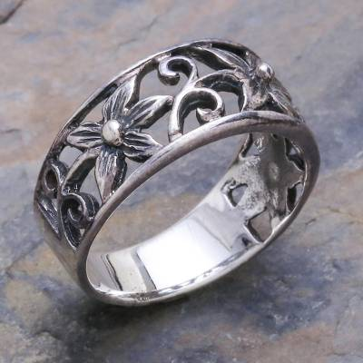 necklace with little charms inside - Unique Floral Sterling Silver Band Ring