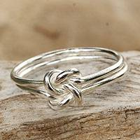 Sterling silver cocktail ring, 'Love Knot' - Unique Sterling Silver Band Ring