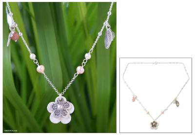Pearl flower necklace, 'Precious Garden' - Hand Crafted Silver Flower Necklace
