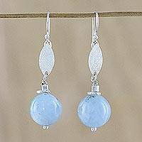 Aquamarine dangle earrings, 'Serenity' - Aquamarine and Silver Dangle Earrings