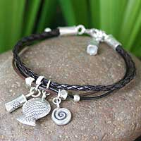 Leather charm bracelet, 'Cherish' - Leather and Silver Bracelet