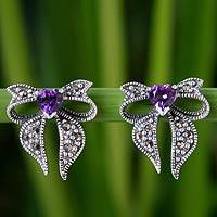 Marcasite and amethyst button earrings, 'Violet Heart' - Heart Shaped Sterling Silver and Amethyst Button Earrings