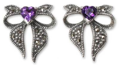 Heart Shaped Sterling Silver and Amethyst Button Earrings