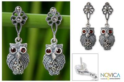 Marcasite and garnet dangle earrings, 'Little Owl' - Marcasite and Garnet Dangle Earrings
