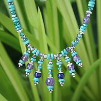Turquoise and amethyst waterfall necklace, 'Bold Blues' - Turquoise and amethyst waterfall necklace