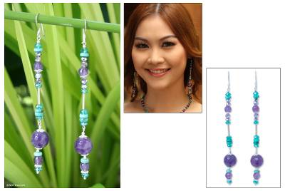 Turquoise and amethyst dangle earrings, 'Bold Blues' - Turquoise and Amethyst Earrings