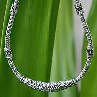 Sterling silver chain necklace, 'Thai Garden'