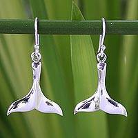Sterling silver dangle earrings, 'Glistening Whale' - Sterling Silver Dangle Earrings from Thailand