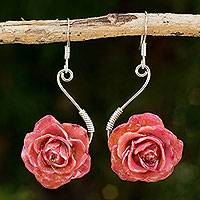 Natural rose flower earrings, 'Rose Romance' - Natural rose flower earrings