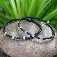 Silver braided bracelets, 'Hill Tribe Intrigue' (pair)