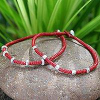 Silver braided bracelets, 'Tribal Trends' (pair)