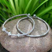 Silver braided bracelets, 'Ethnic Legacies' (pair) - Silver braided bracelets (Pair)