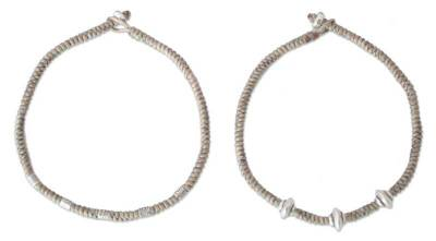 Silver braided bracelets (Pair)