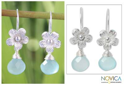 Chalcedony flower earrings, 'Sky Bloom' - Thai Chalcedony Flower Earrings