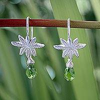 Peridot dangle earrings, 'Silver Fern'