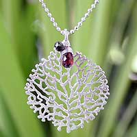Garnet and black spinel pendant necklace, 'Living Coral' - Sterling Silver and Garnet Pendant Necklace