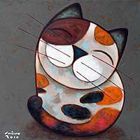 'Smile with Me' - Naif Cat Painting