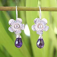 Amethyst flower earrings, 'Lilac Bloom'