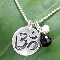 Pearl and onyx pendant necklace, 'Yoga Camel Pose' - Sterling Silver and Onyx Ohm Pendant Necklace