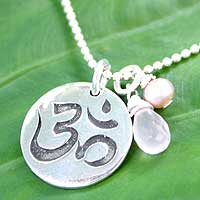 Pearl and rose quartz pendant necklace, 'Yoga Warrior' - Pearl and Rose Quartz Silver Ohm Necklace