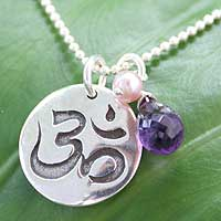 Pearl and amethyst pendant necklace, 'Yoga Cobra' - Pearl and amethyst pendant necklace