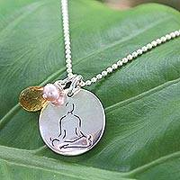 Pearl and citrine pendant necklace, 'Yoga Meditation' - Sterling Silver and Citrine Pendant Necklace