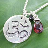Garnet and onyx pendant necklace, 'Yoga Tree Pose' - Garnet and onyx pendant necklace