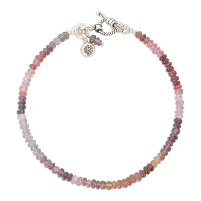 Hand Made Spinel and Silver Bracelet